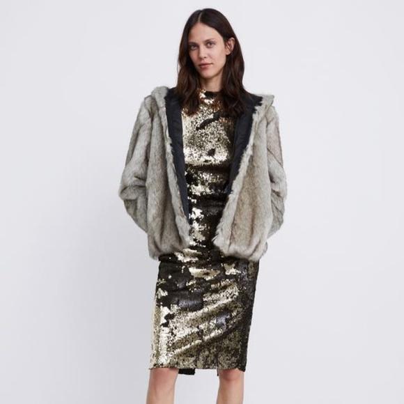 5b386b5a9cb NWT Zara Sequin Knee Dress Exposed Back